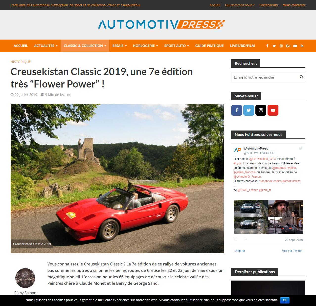 Article sur le CRK2019 dans Automotiv Press