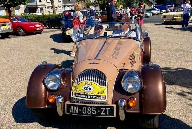 Roselyne Exmelin et Frédéric Clauzel, équipage gagnant Creusekistan Classic 2021 (Roadster Morgan)